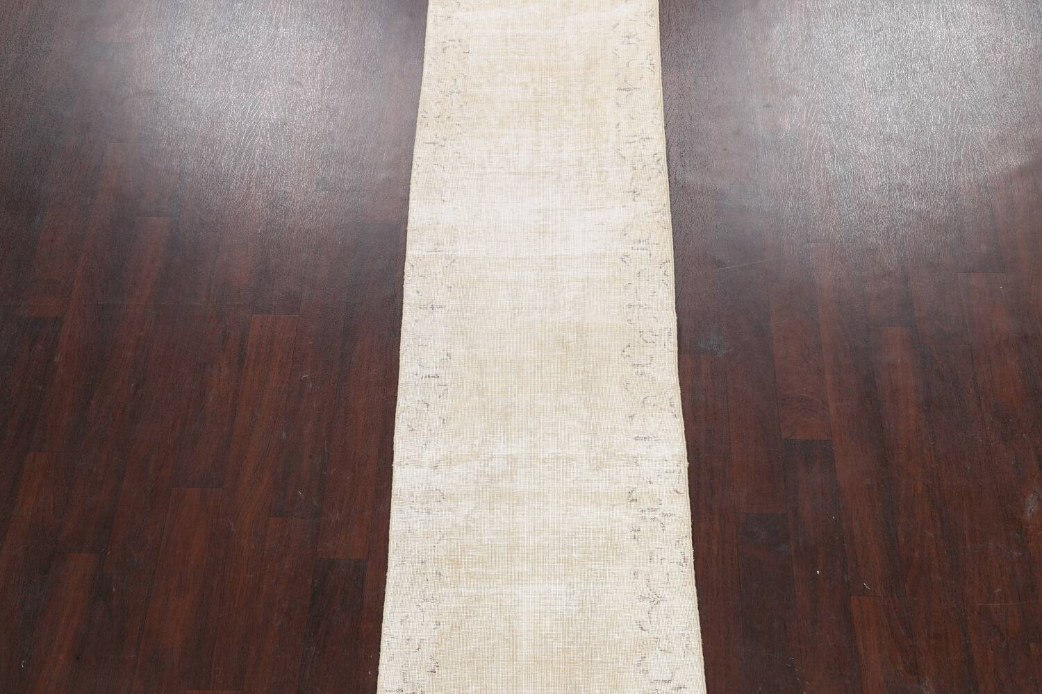 Muted Distressed Tabriz Persian Runner Rug 2x15 image 3
