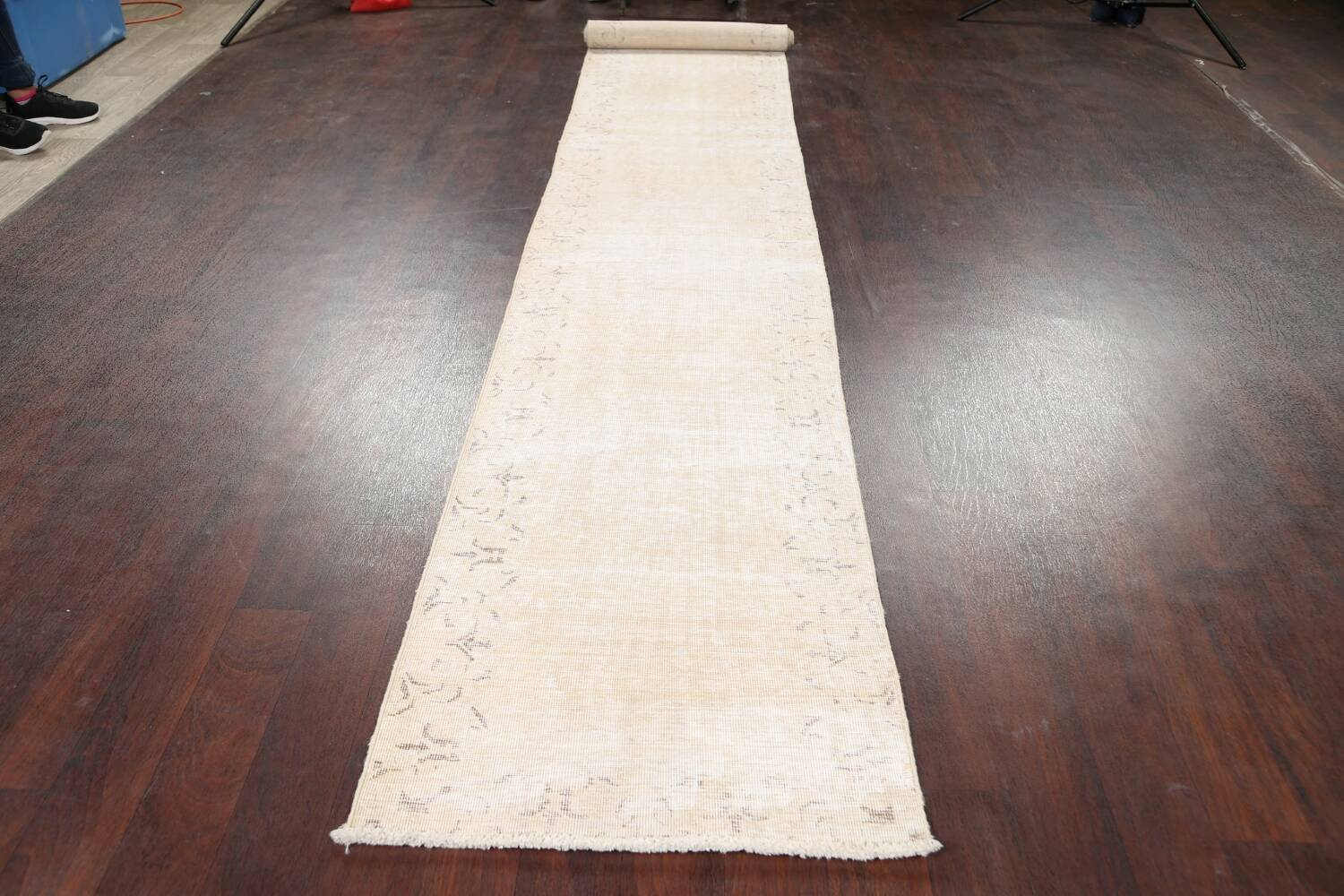 Muted Distressed Tabriz Persian Runner Rug 2x15 image 13
