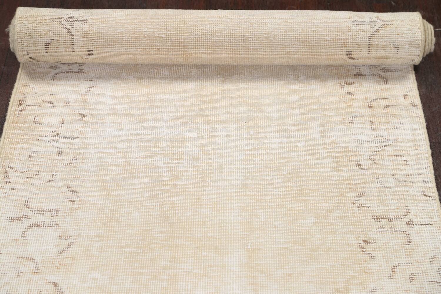 Muted Distressed Tabriz Persian Runner Rug 2x15 image 14