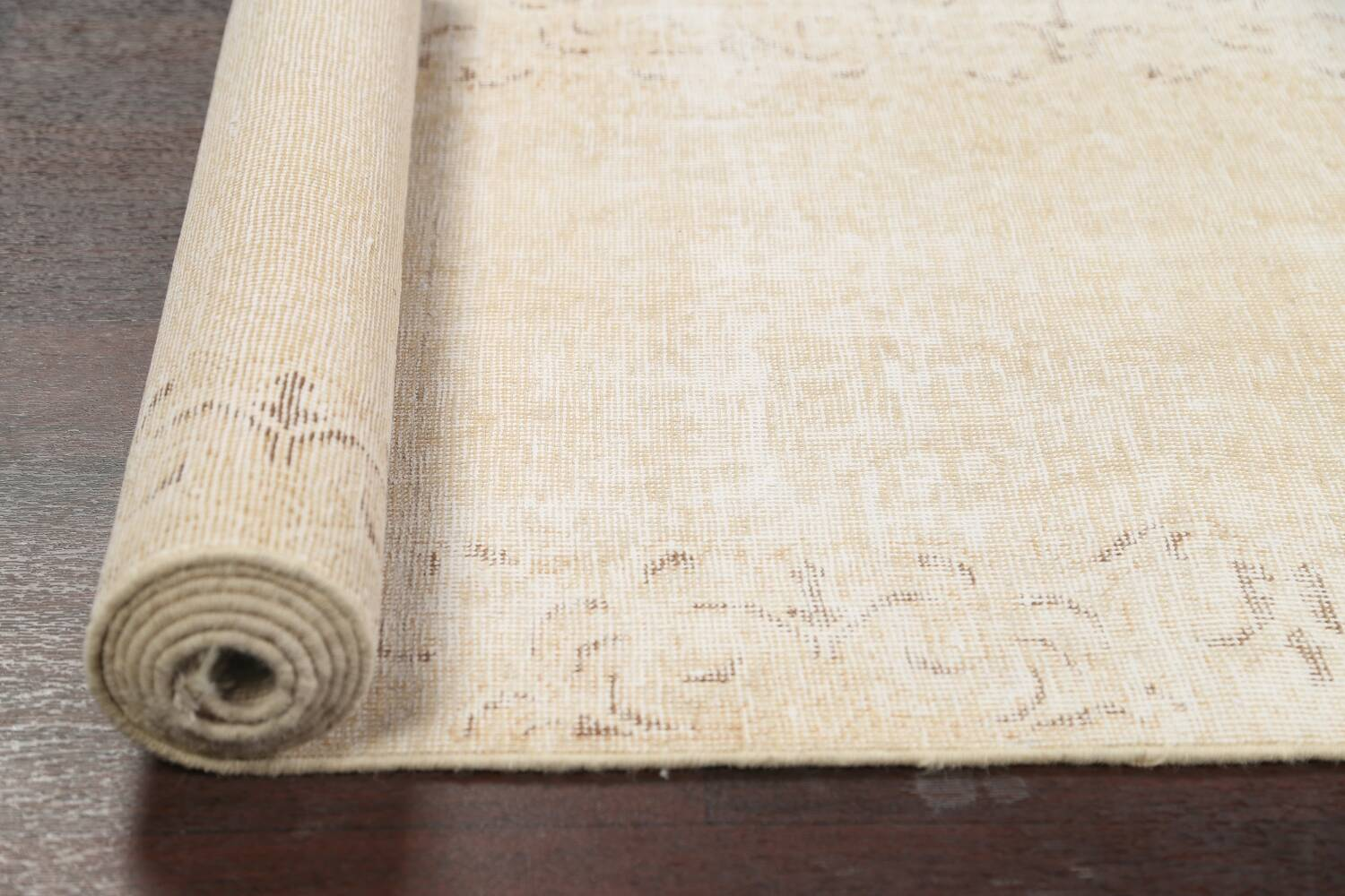 Muted Distressed Tabriz Persian Runner Rug 2x15 image 15