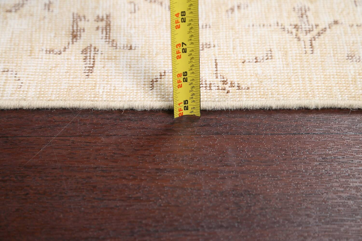 Muted Distressed Tabriz Persian Runner Rug 2x15 image 17