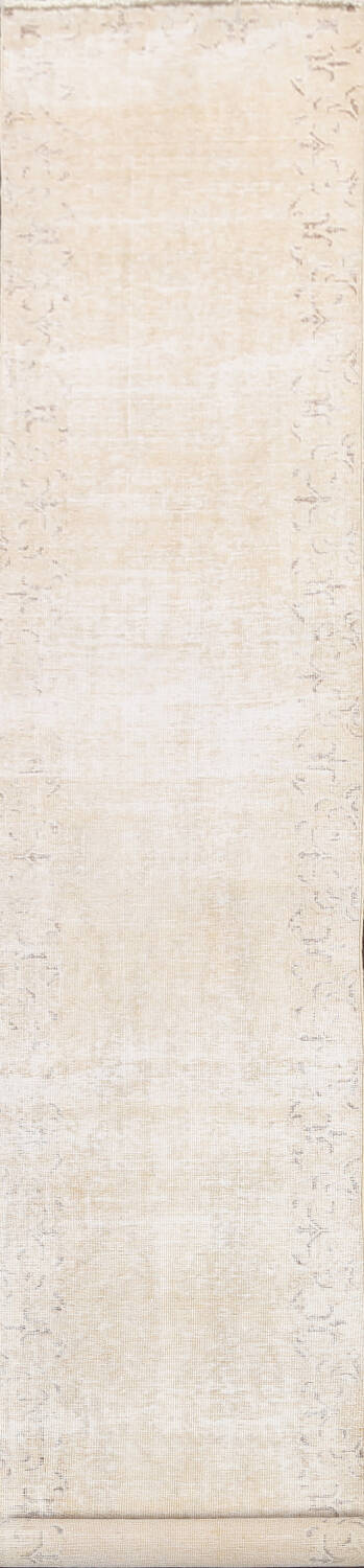 Muted Distressed Tabriz Persian Runner Rug 2x15 image 1