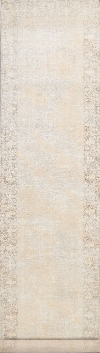 Muted Distressed Tabriz Persian Runner Rug 3x16