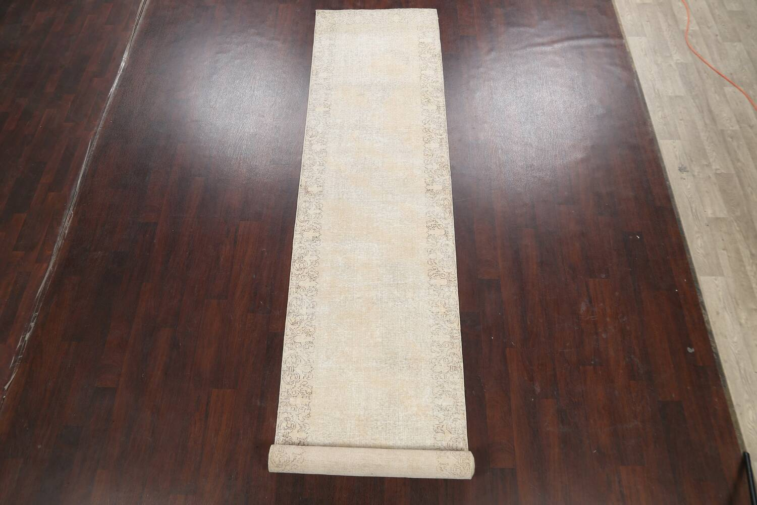 Muted Distressed Tabriz Persian Runner Rug 3x16 image 2
