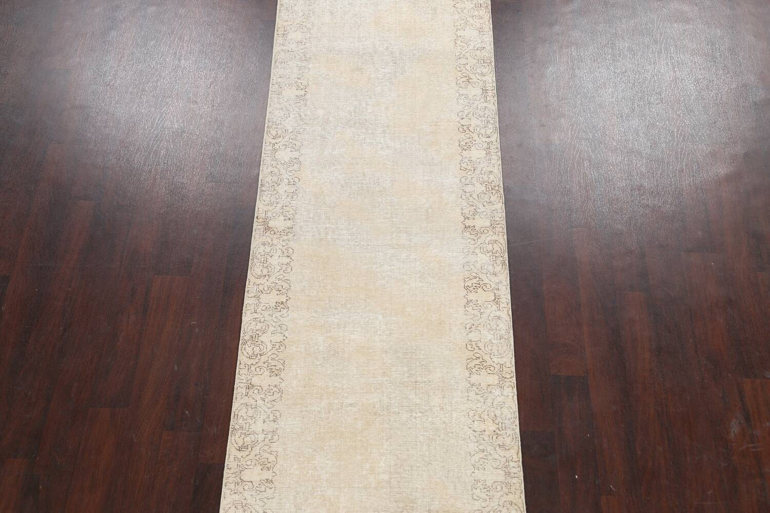 Muted Distressed Tabriz Persian Runner Rug 3x16 image 3
