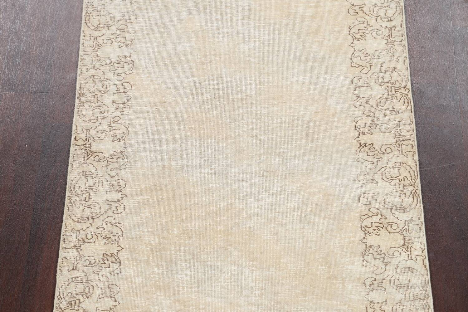 Muted Distressed Tabriz Persian Runner Rug 3x16 image 4