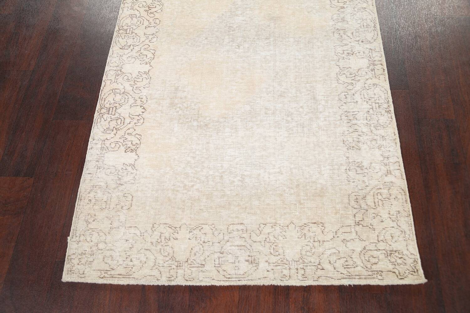 Muted Distressed Tabriz Persian Runner Rug 3x16 image 8