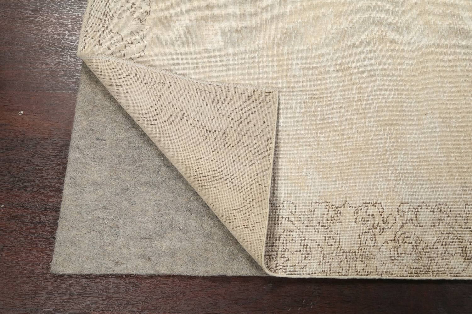 Muted Distressed Tabriz Persian Runner Rug 3x16 image 7