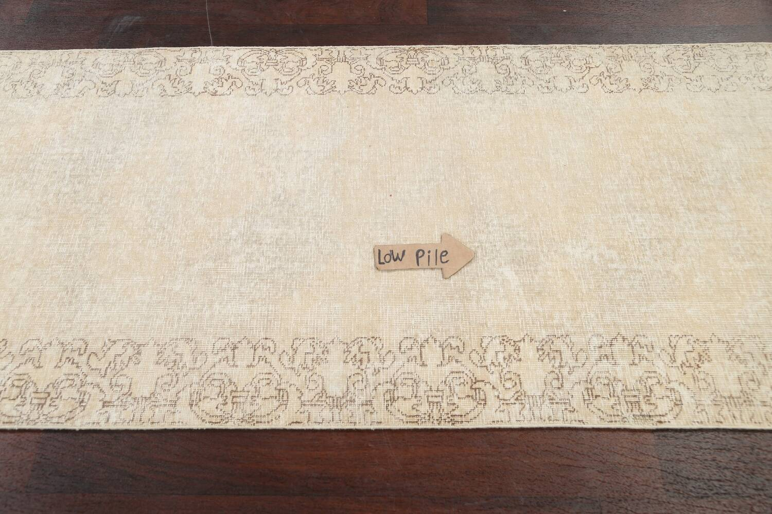 Muted Distressed Tabriz Persian Runner Rug 3x16 image 11