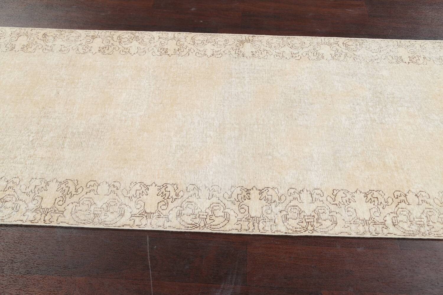 Muted Distressed Tabriz Persian Runner Rug 3x16 image 13