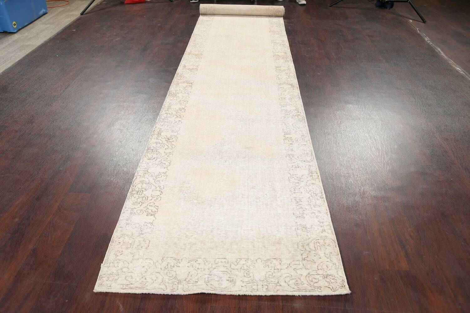Muted Distressed Tabriz Persian Runner Rug 3x16 image 14