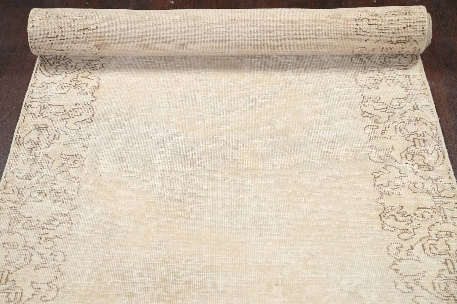 Muted Distressed Tabriz Persian Runner Rug 3x16 image 15