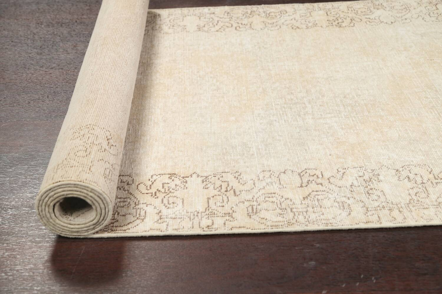 Muted Distressed Tabriz Persian Runner Rug 3x16 image 16