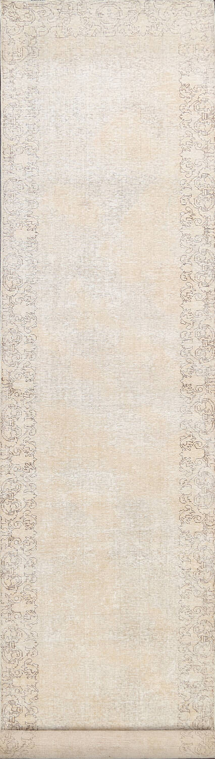 Muted Distressed Tabriz Persian Runner Rug 3x16 image 1