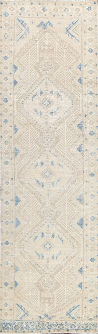 Distressed Geometric Malayer Persian Runner Rug 3x10