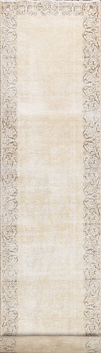 Muted Distressed Bordered Tabriz Persian Runner Rug 3x15