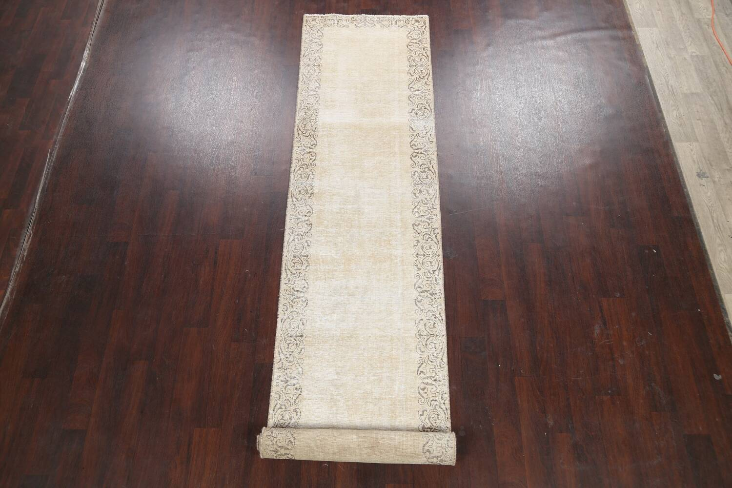Muted Distressed Bordered Tabriz Persian Runner Rug 3x15 image 2