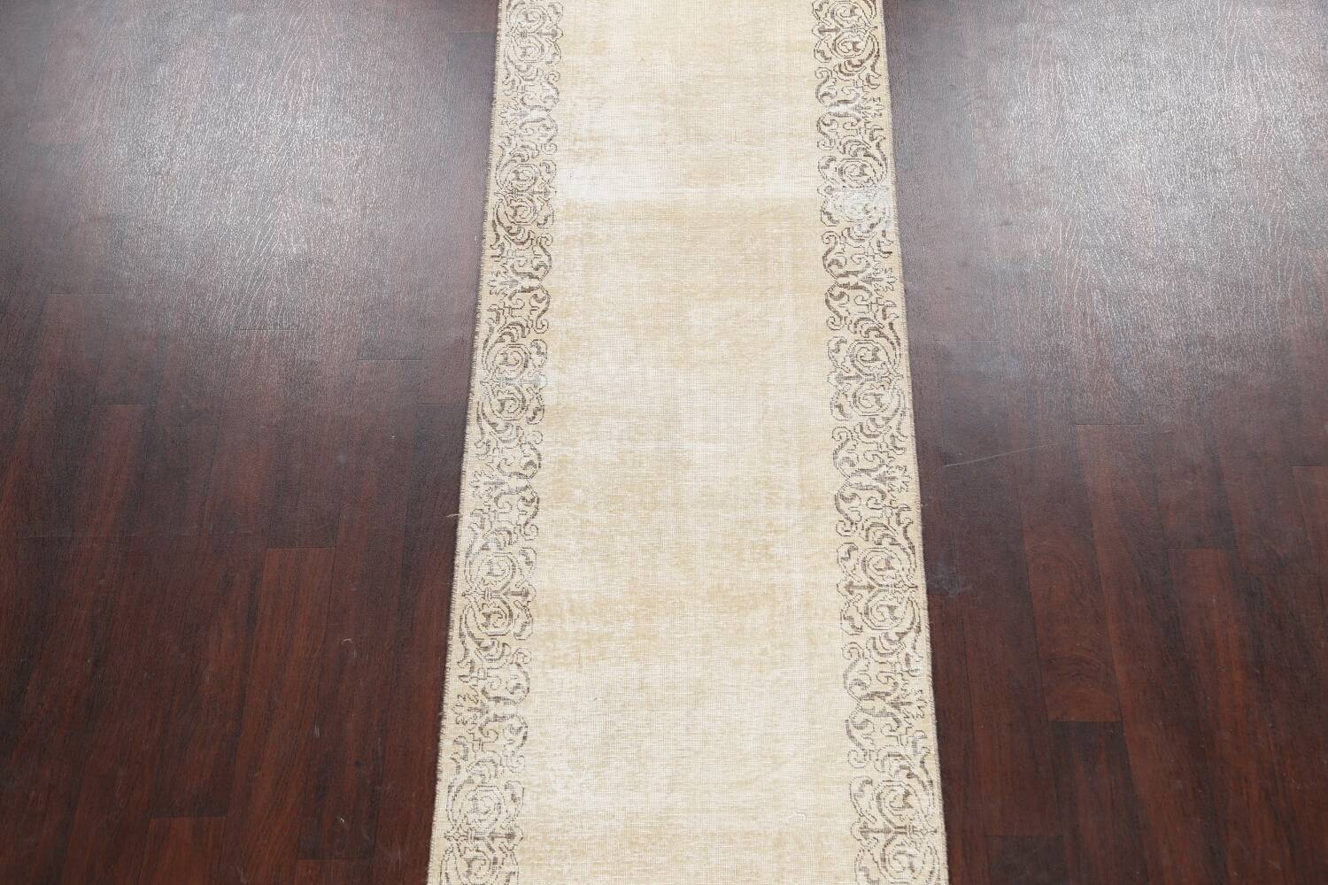 Muted Distressed Bordered Tabriz Persian Runner Rug 3x15 image 3