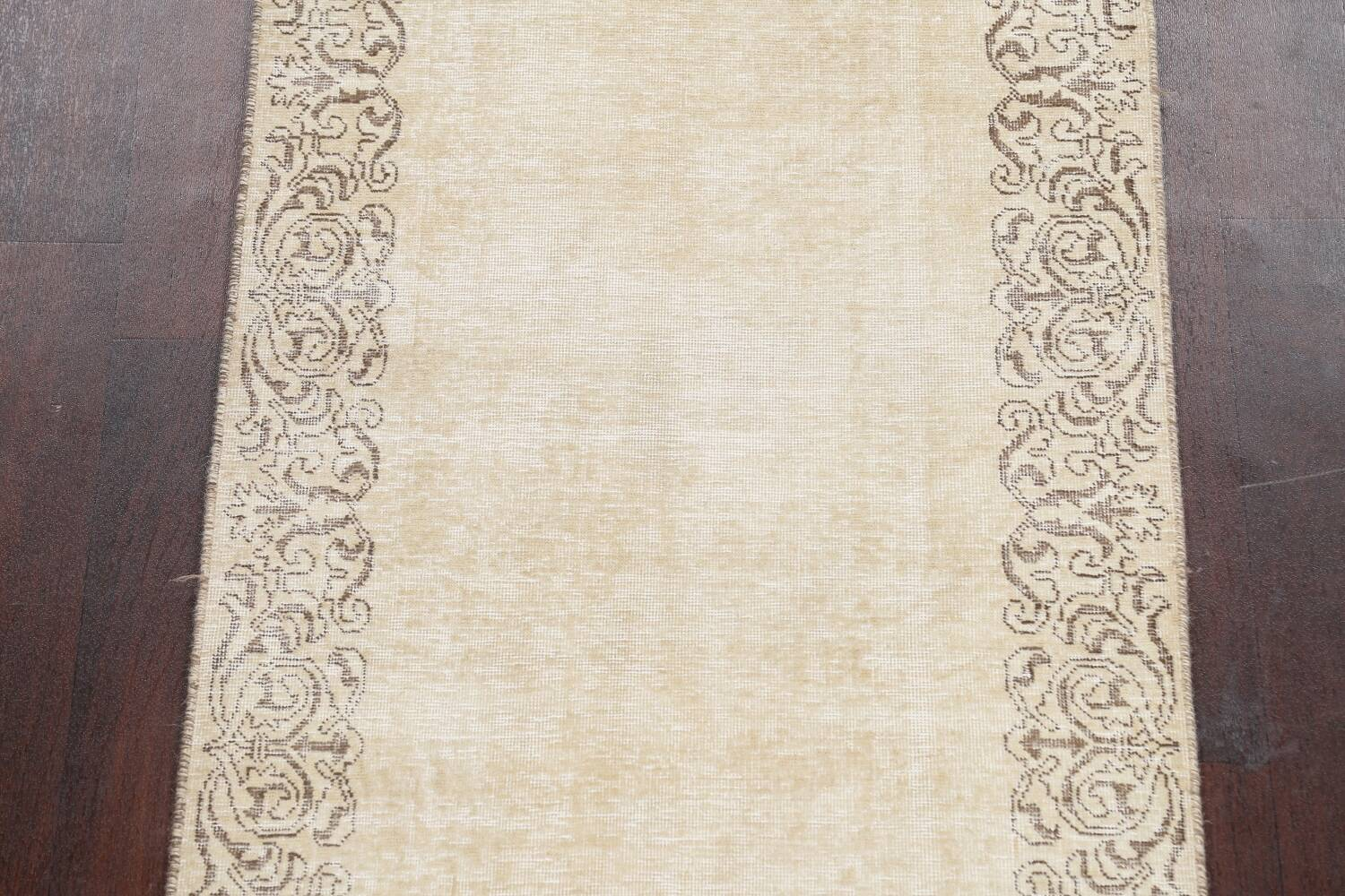 Muted Distressed Bordered Tabriz Persian Runner Rug 3x15 image 4