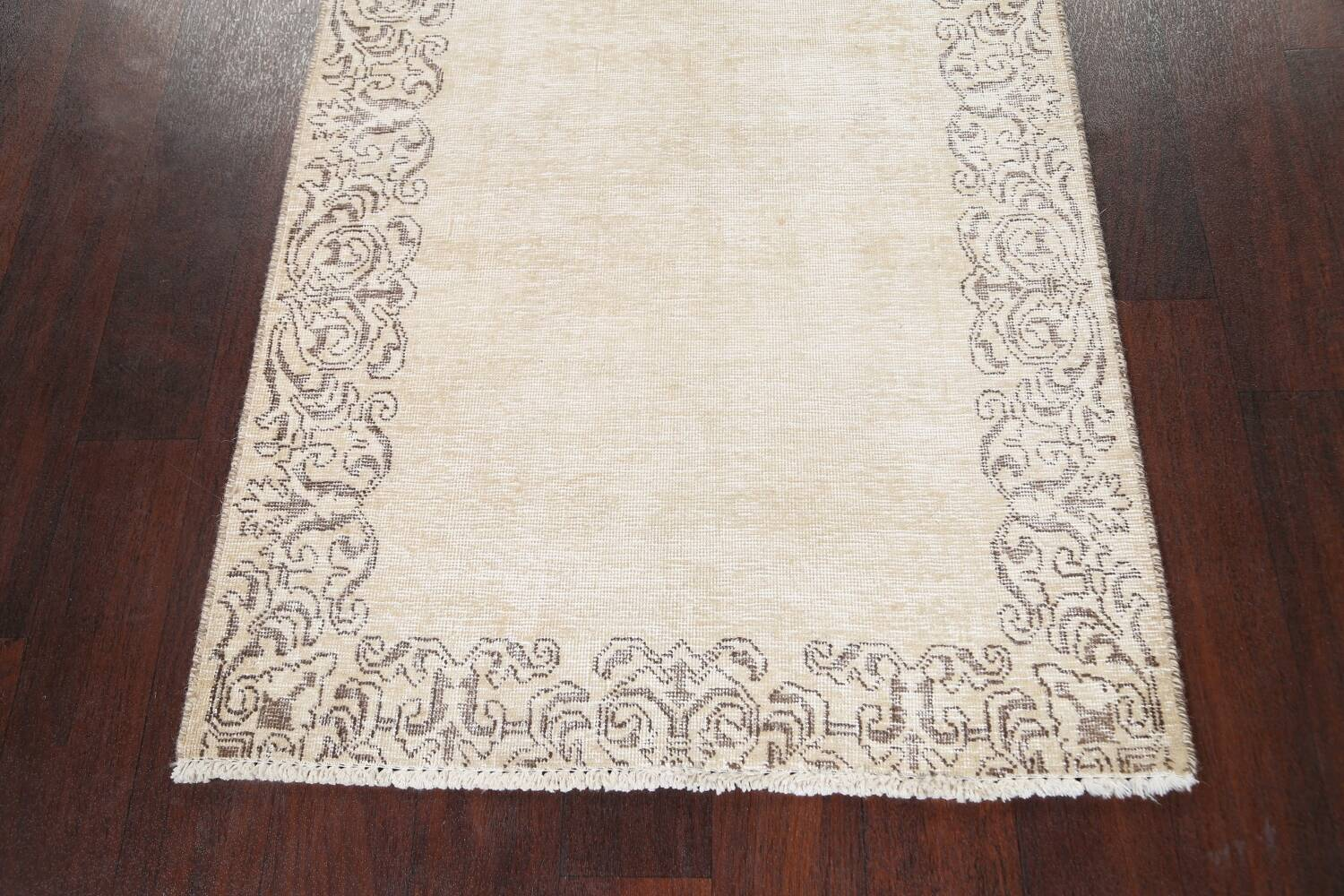 Muted Distressed Bordered Tabriz Persian Runner Rug 3x15 image 8