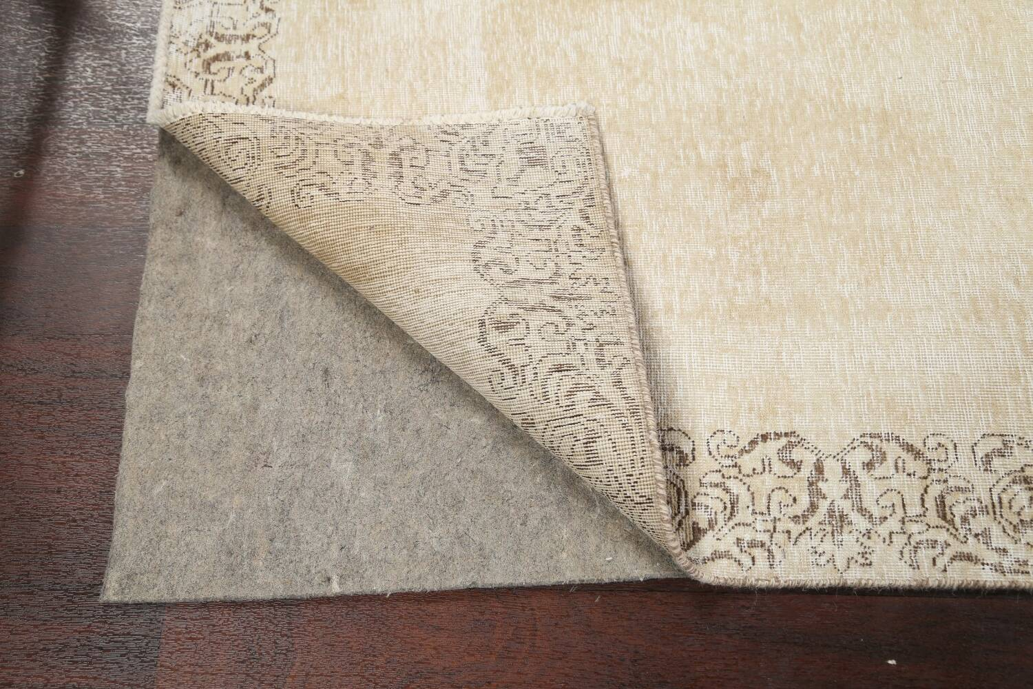Muted Distressed Bordered Tabriz Persian Runner Rug 3x15 image 7