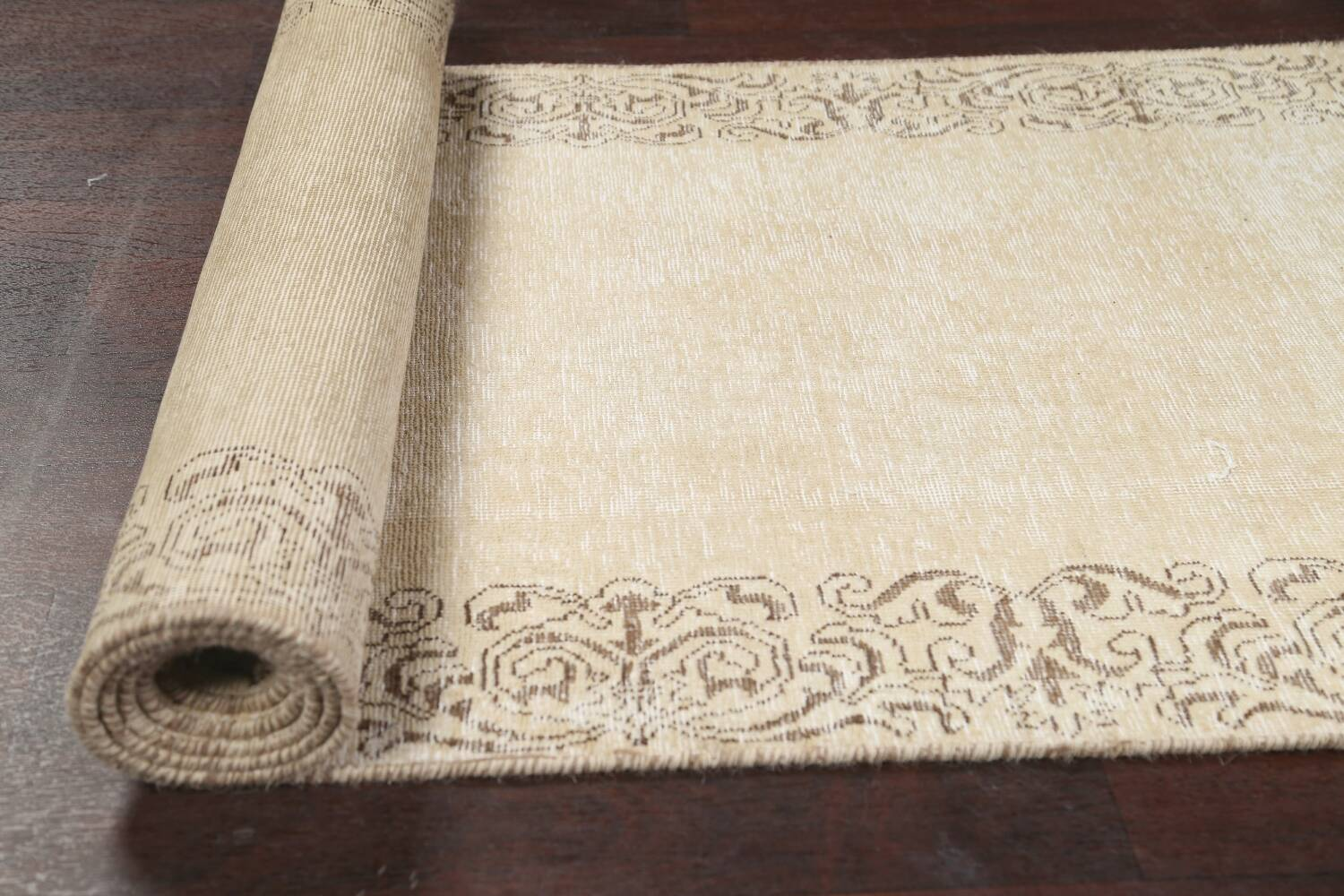 Muted Distressed Bordered Tabriz Persian Runner Rug 3x15 image 12