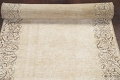 Muted Distressed Bordered Tabriz Persian Runner Rug 3x15 image 11