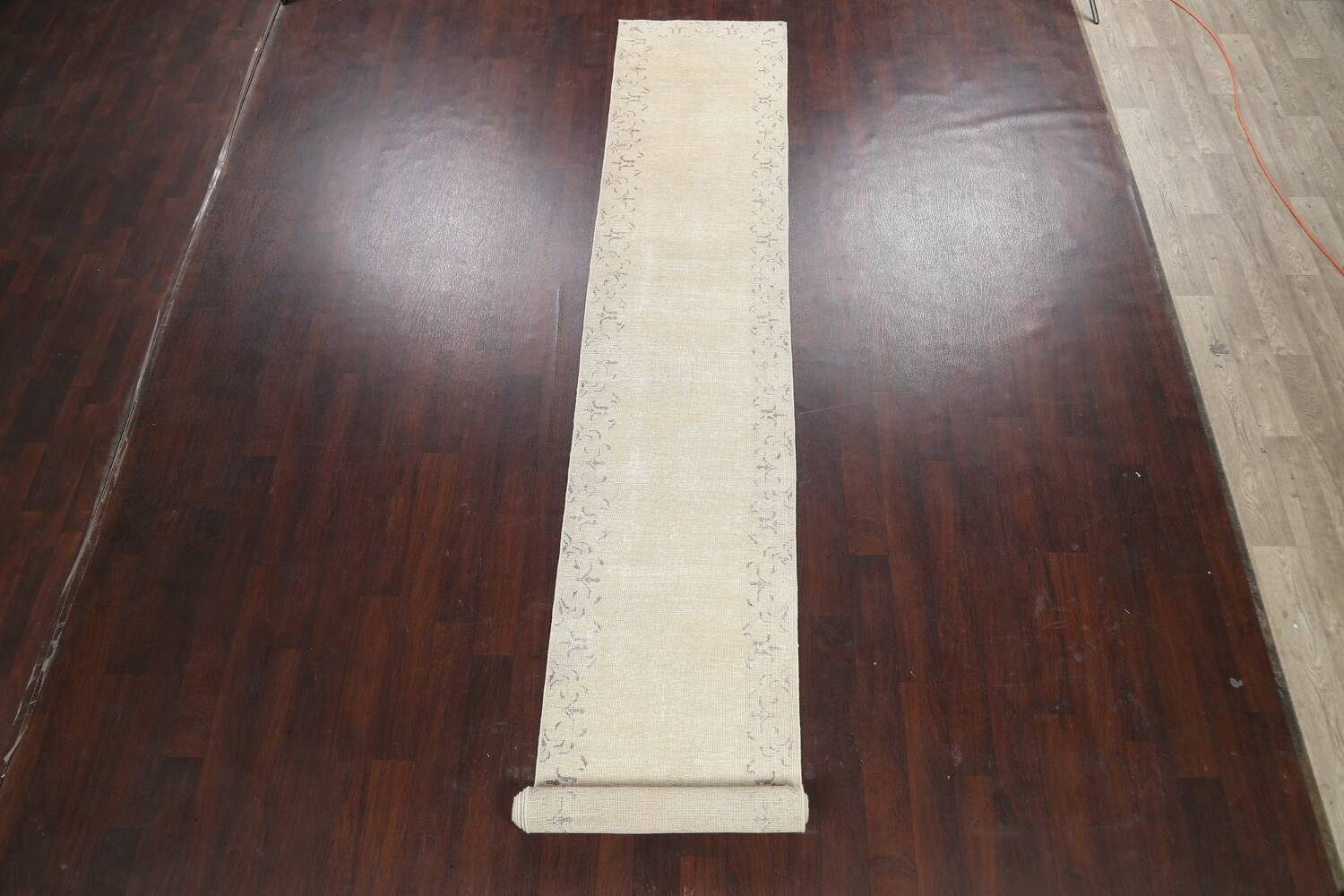 Muted Distressed Bordered Tabriz Persian Runner Rug 2x16 image 2