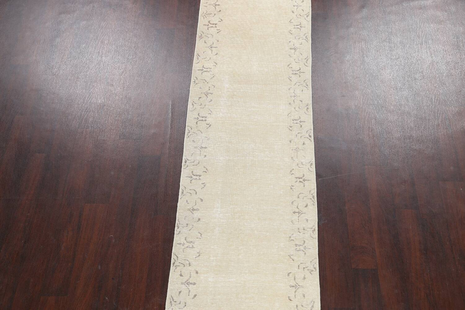 Muted Distressed Bordered Tabriz Persian Runner Rug 2x16 image 3