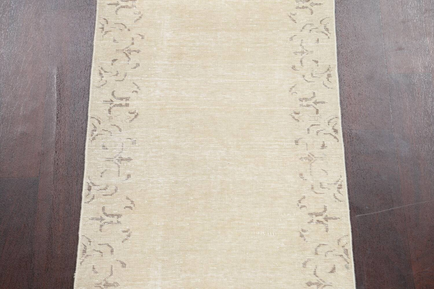 Muted Distressed Bordered Tabriz Persian Runner Rug 2x16 image 4