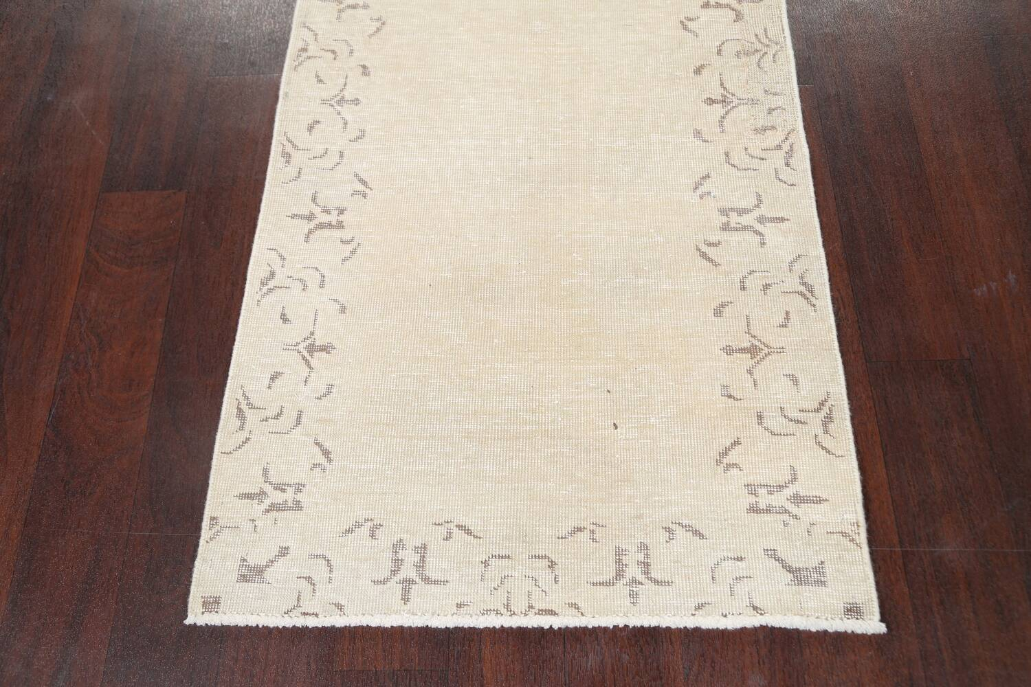 Muted Distressed Bordered Tabriz Persian Runner Rug 2x16 image 8