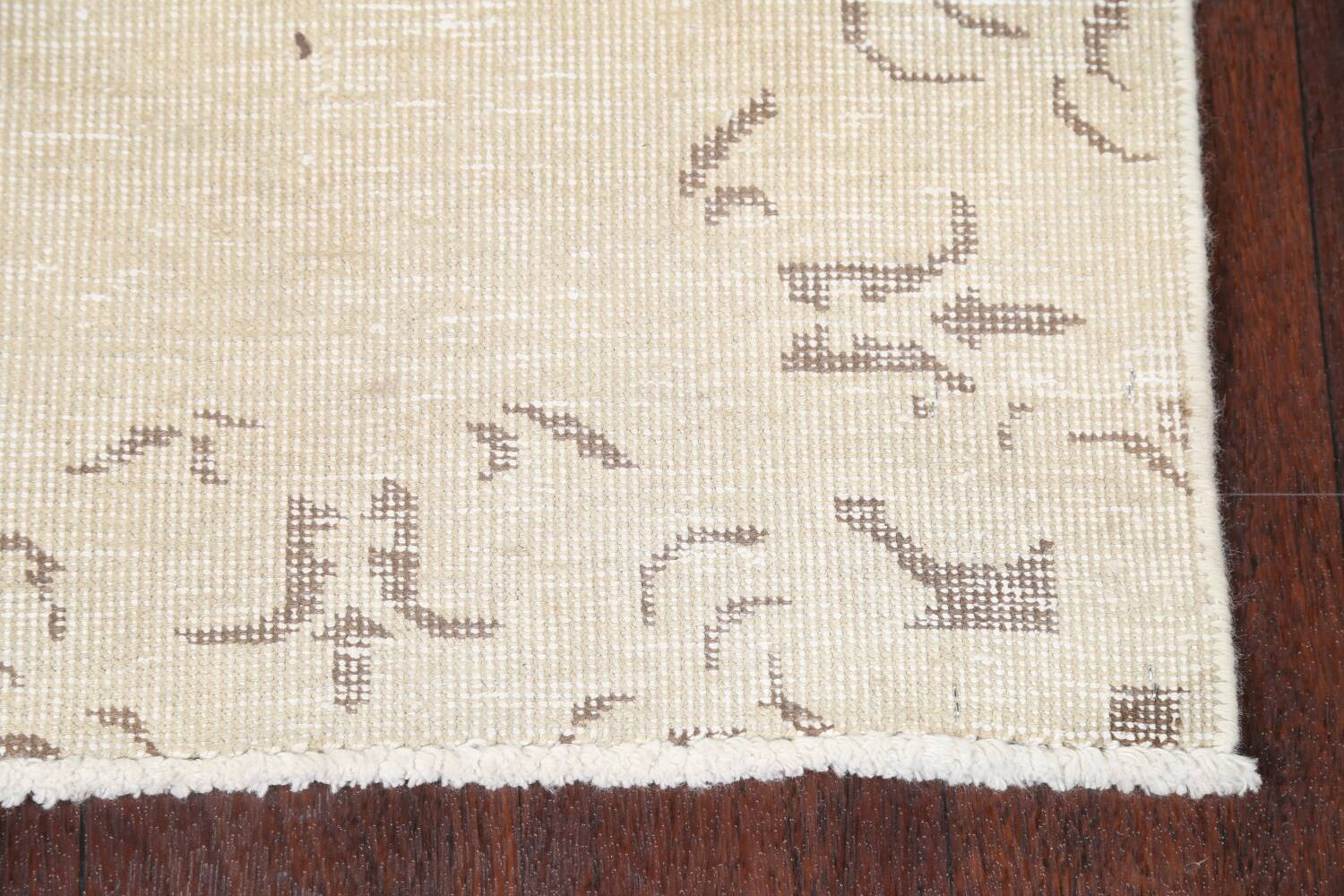 Muted Distressed Bordered Tabriz Persian Runner Rug 2x16 image 5