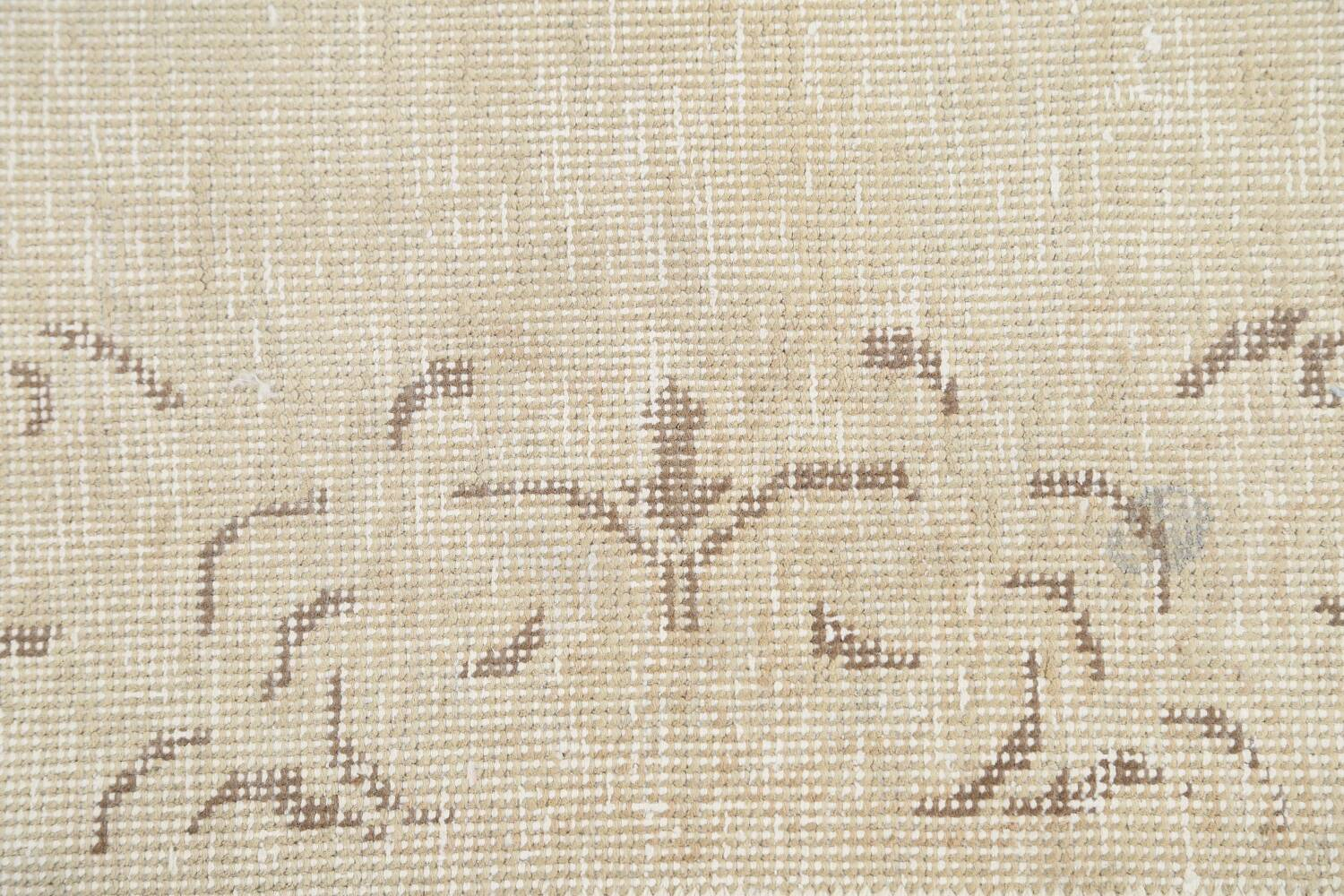 Muted Distressed Bordered Tabriz Persian Runner Rug 2x16 image 9