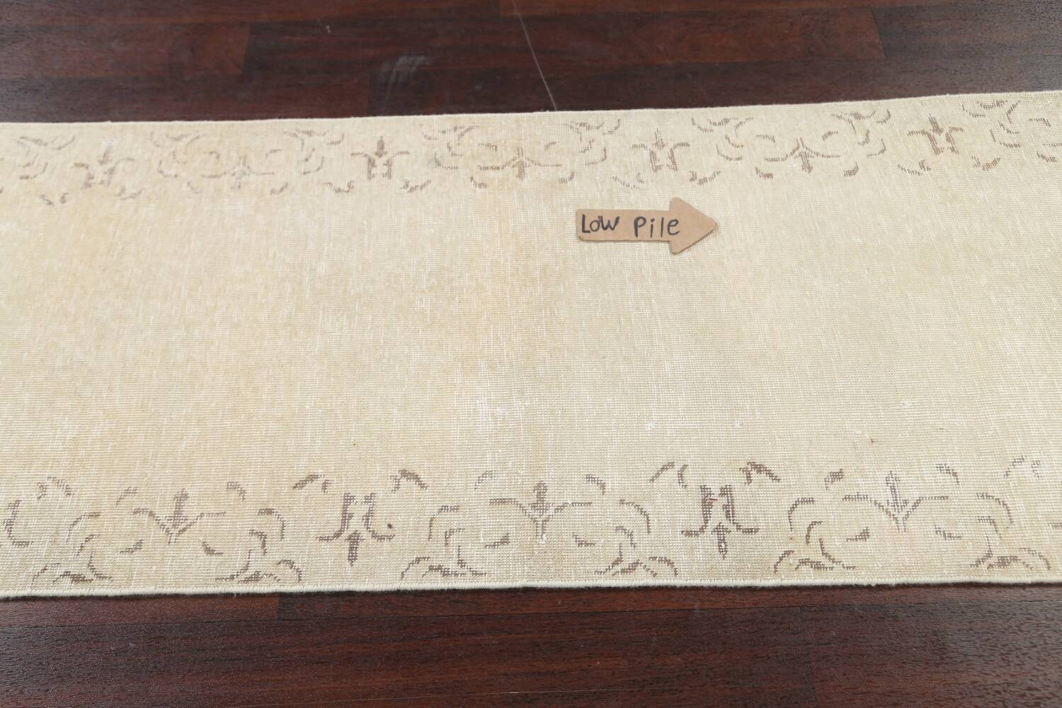 Muted Distressed Bordered Tabriz Persian Runner Rug 2x16 image 11