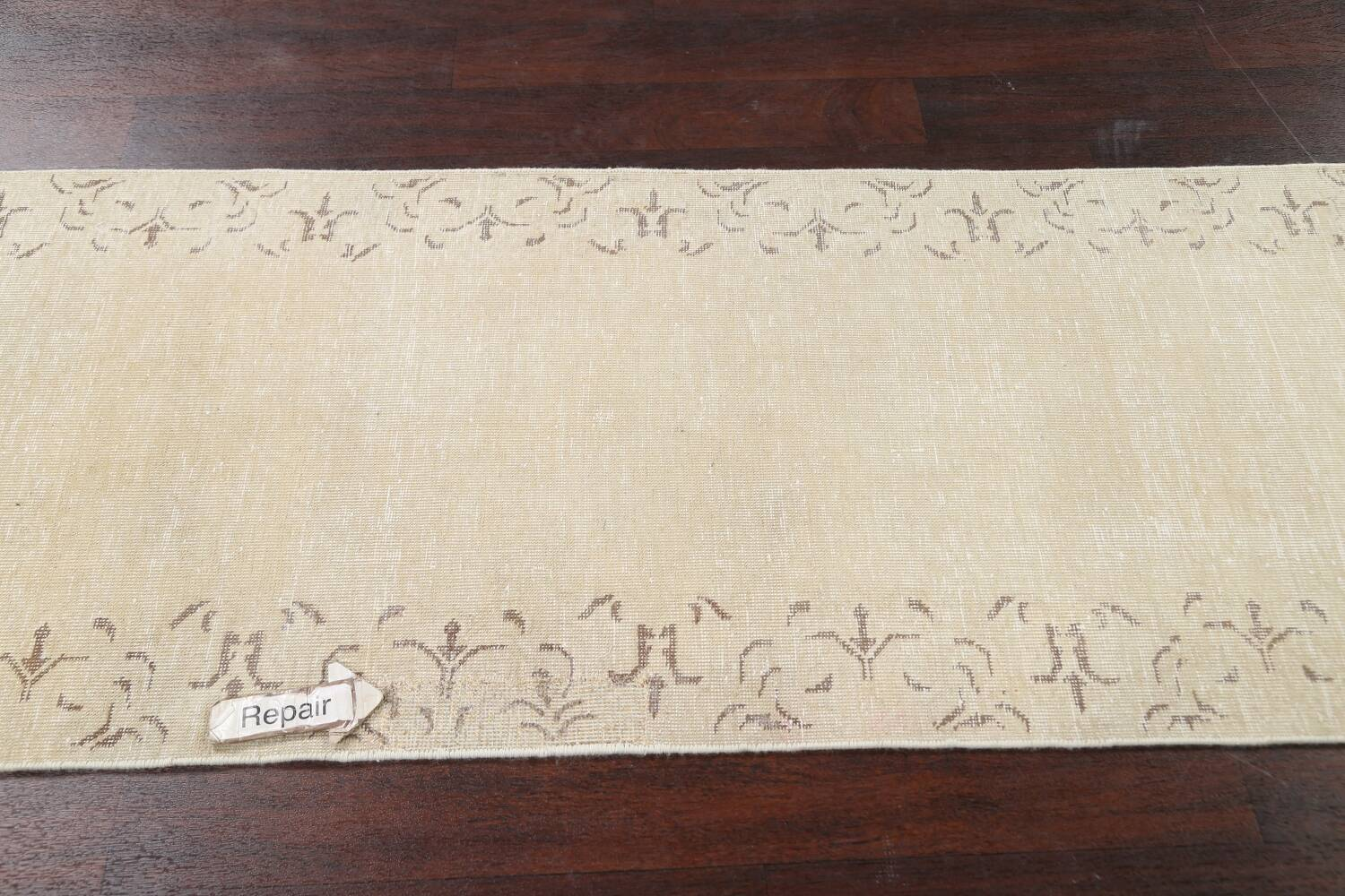 Muted Distressed Bordered Tabriz Persian Runner Rug 2x16 image 13