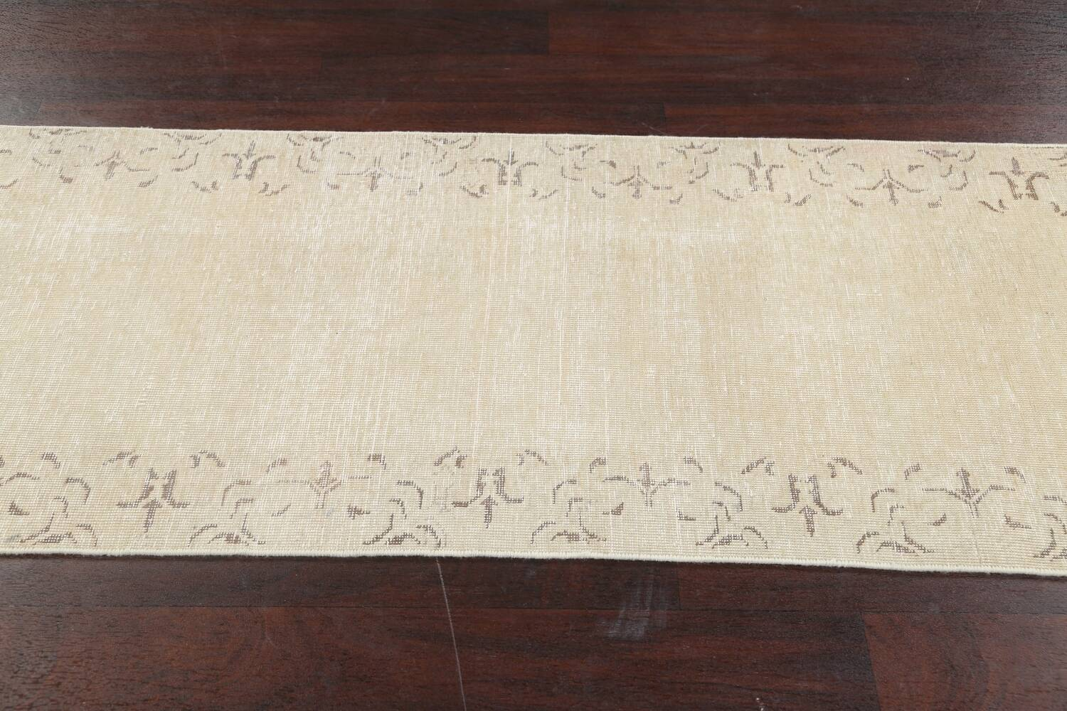 Muted Distressed Bordered Tabriz Persian Runner Rug 2x16 image 15