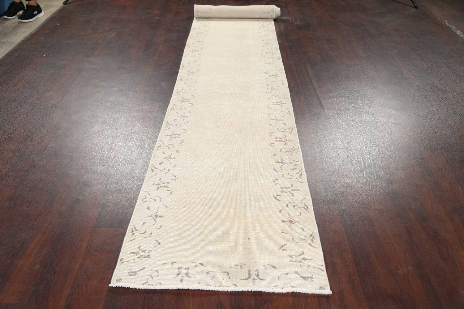 Muted Distressed Bordered Tabriz Persian Runner Rug 2x16 image 16
