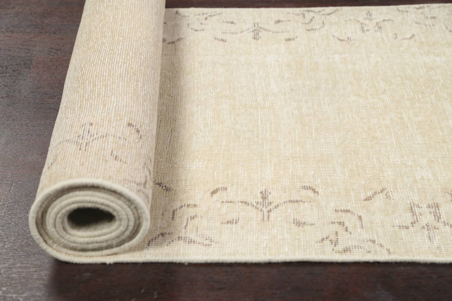 Muted Distressed Bordered Tabriz Persian Runner Rug 2x16 image 18