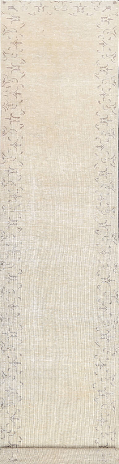 Muted Distressed Bordered Tabriz Persian Runner Rug 2x16 image 1