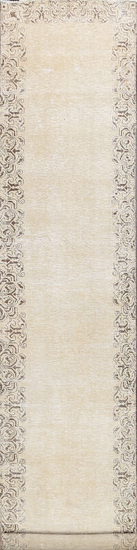 Distressed Bordered Tabriz Persian Runner Rug 3x13