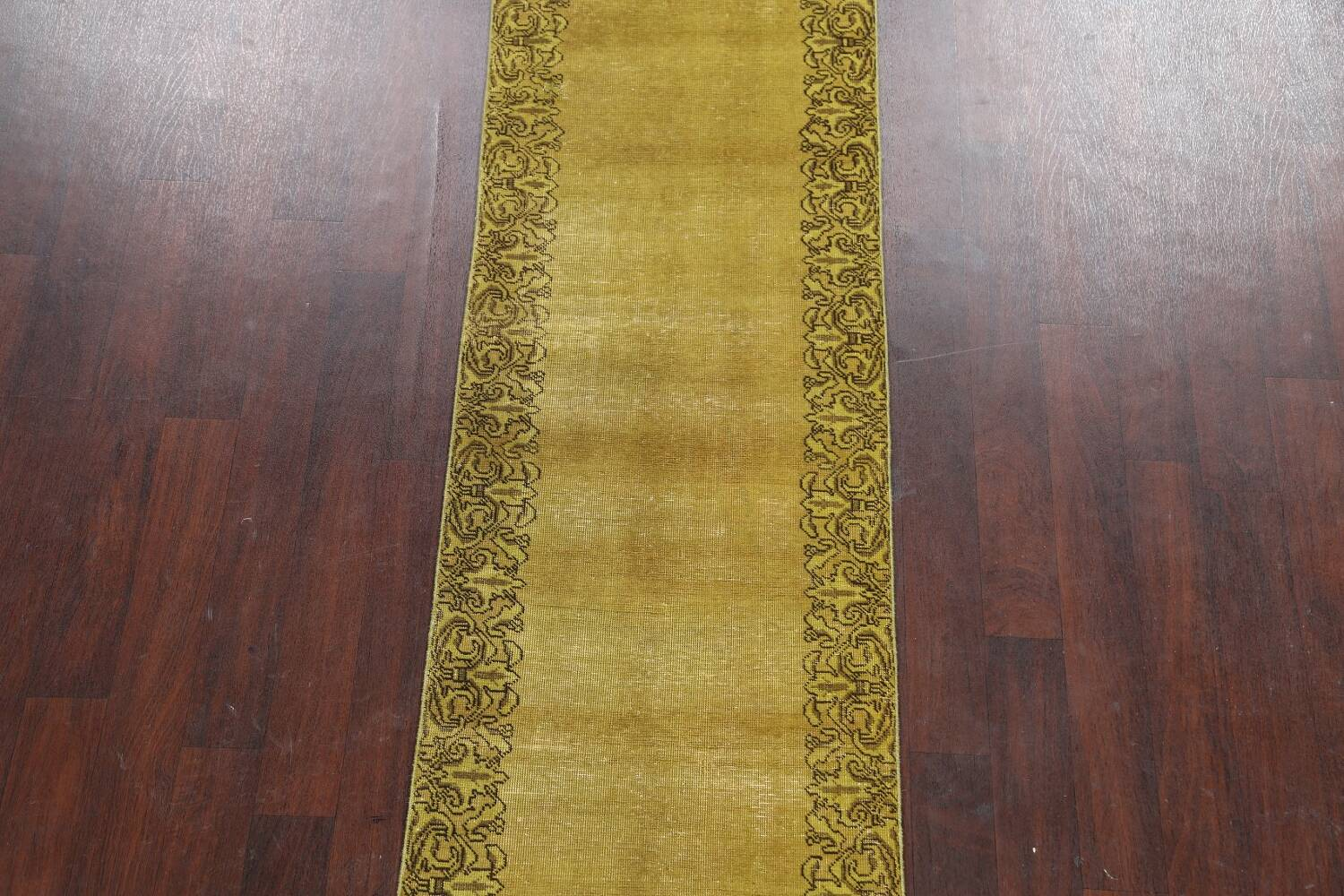 Over-dyed Bordered Tabriz Persian Runner Rug 3x15 image 3