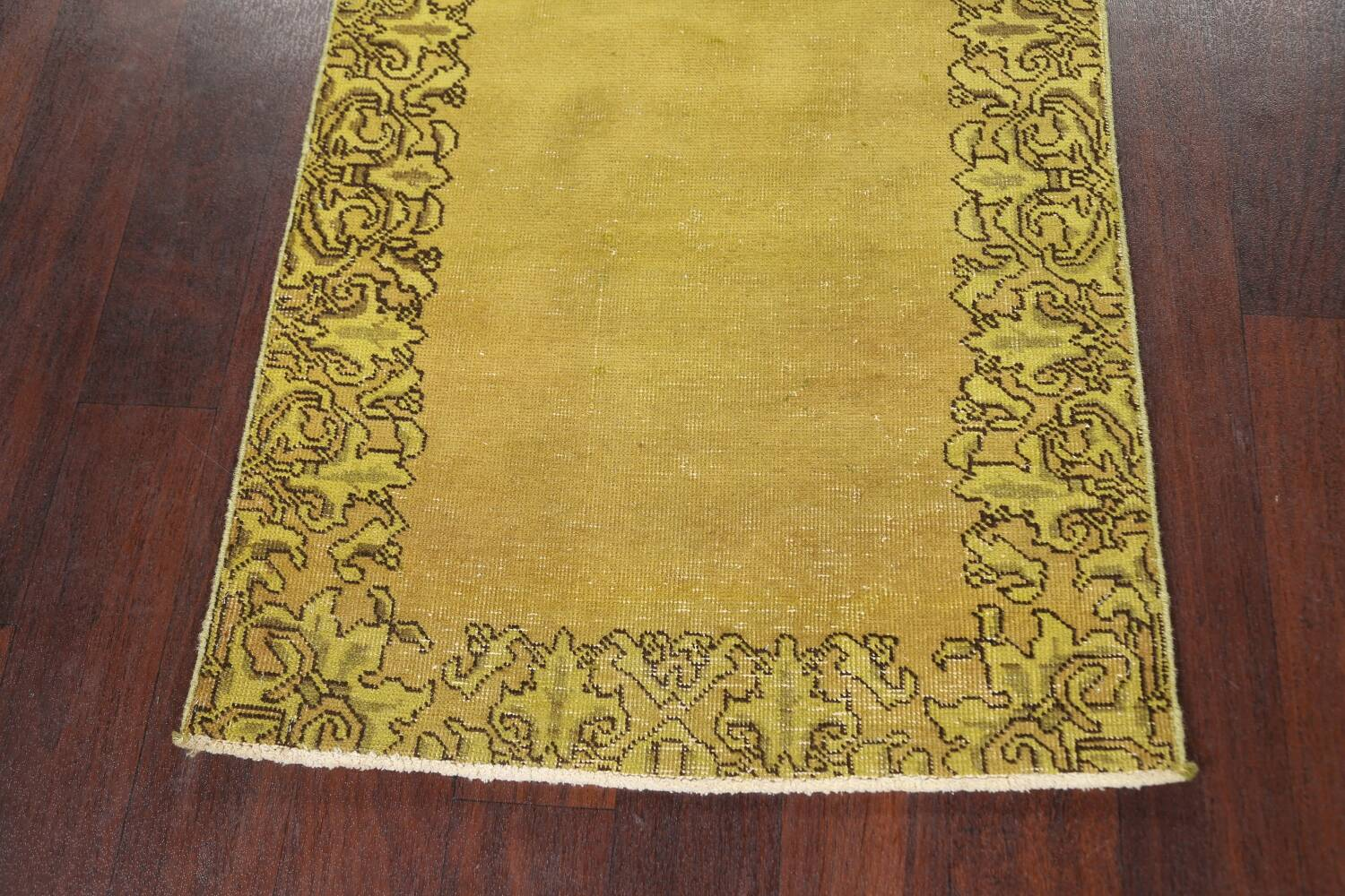 Over-dyed Bordered Tabriz Persian Runner Rug 3x15 image 8