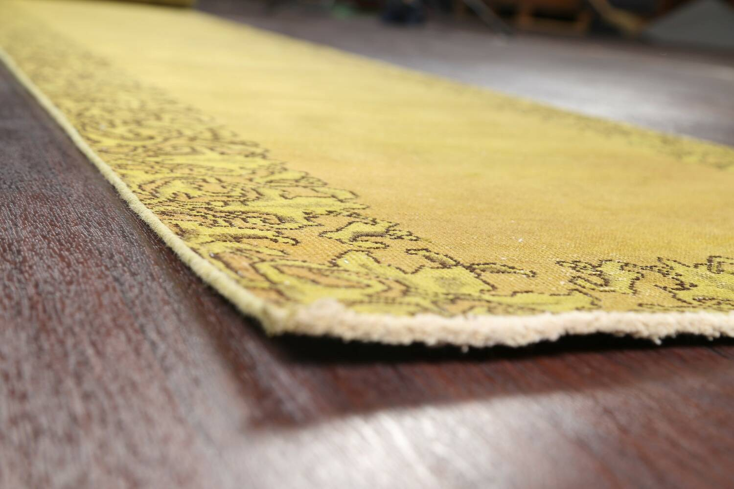 Over-dyed Bordered Tabriz Persian Runner Rug 3x15 image 6
