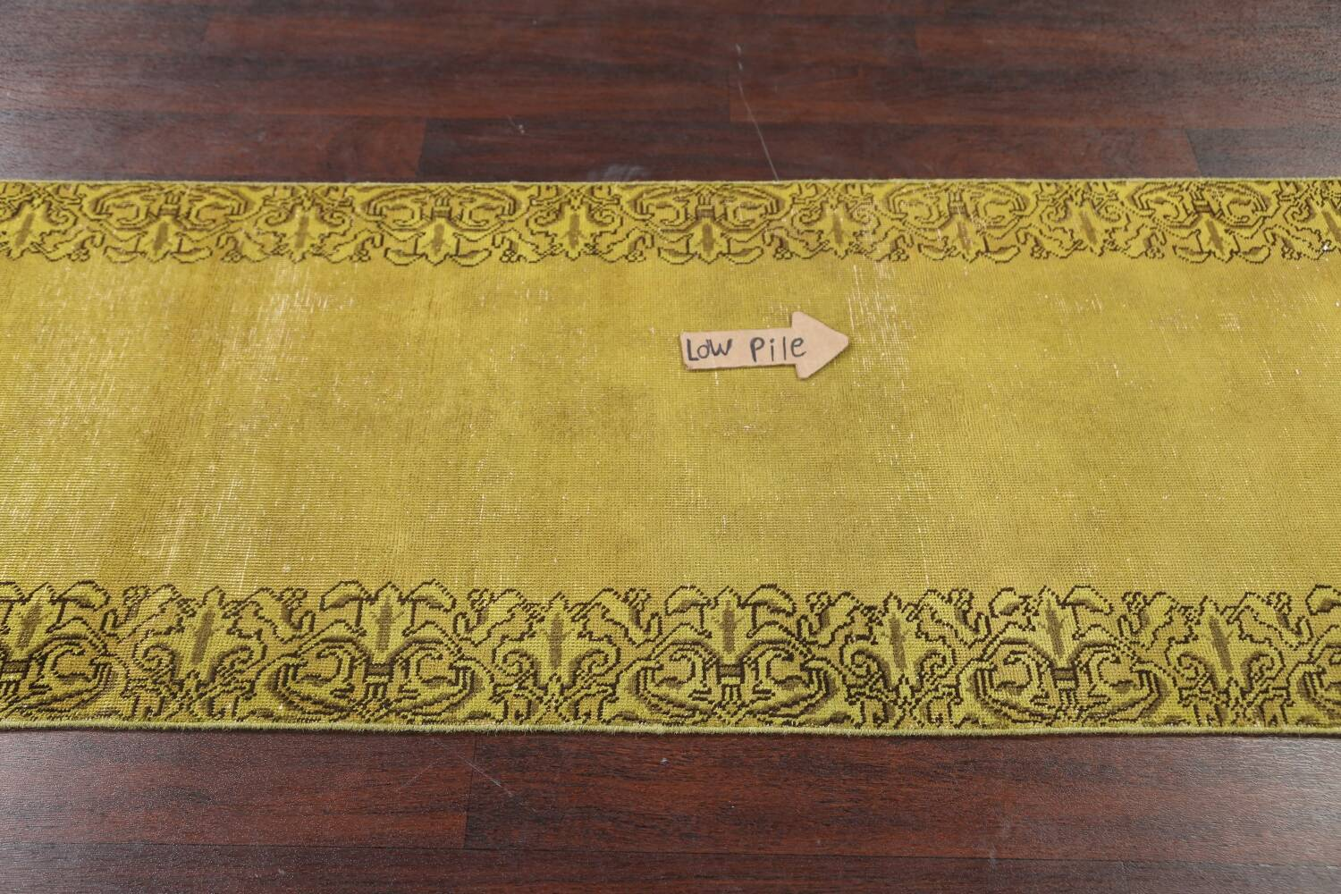 Over-dyed Bordered Tabriz Persian Runner Rug 3x15 image 12