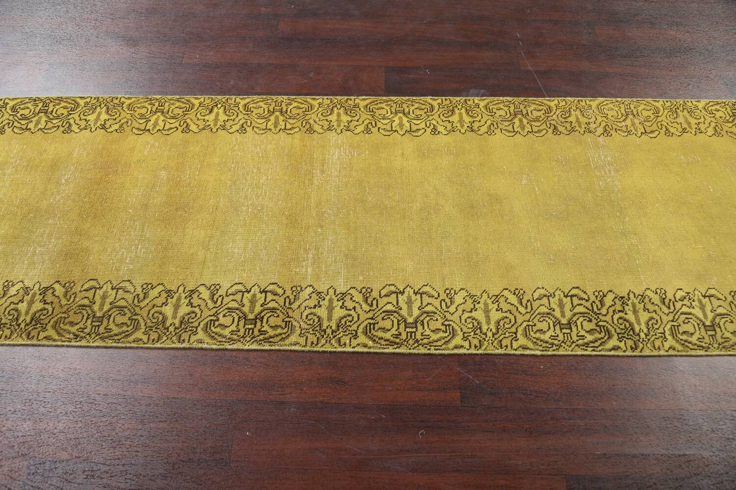 Over-dyed Bordered Tabriz Persian Runner Rug 3x15 image 14