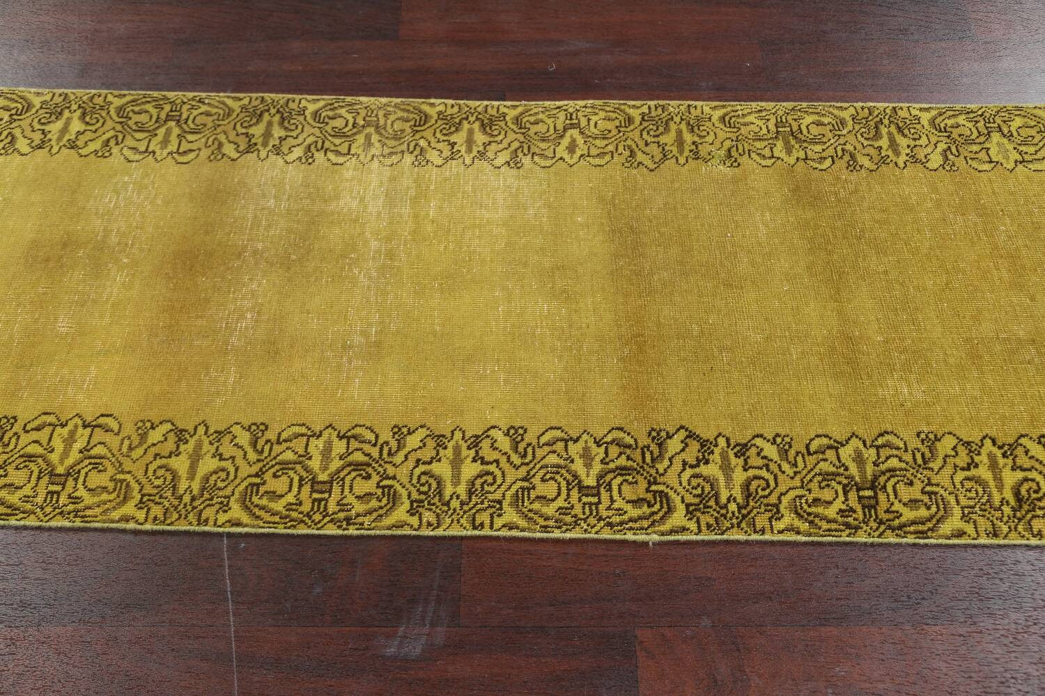 Over-dyed Bordered Tabriz Persian Runner Rug 3x15 image 16