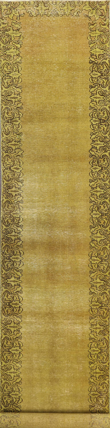 Over-dyed Bordered Tabriz Persian Runner Rug 3x15 image 1