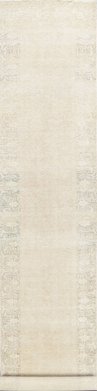 Distressed Bordered Tabriz Persian Runner Rug 3x16