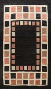 Checkered Gabbeh Kashkoli Oriental Area Rug 10x14