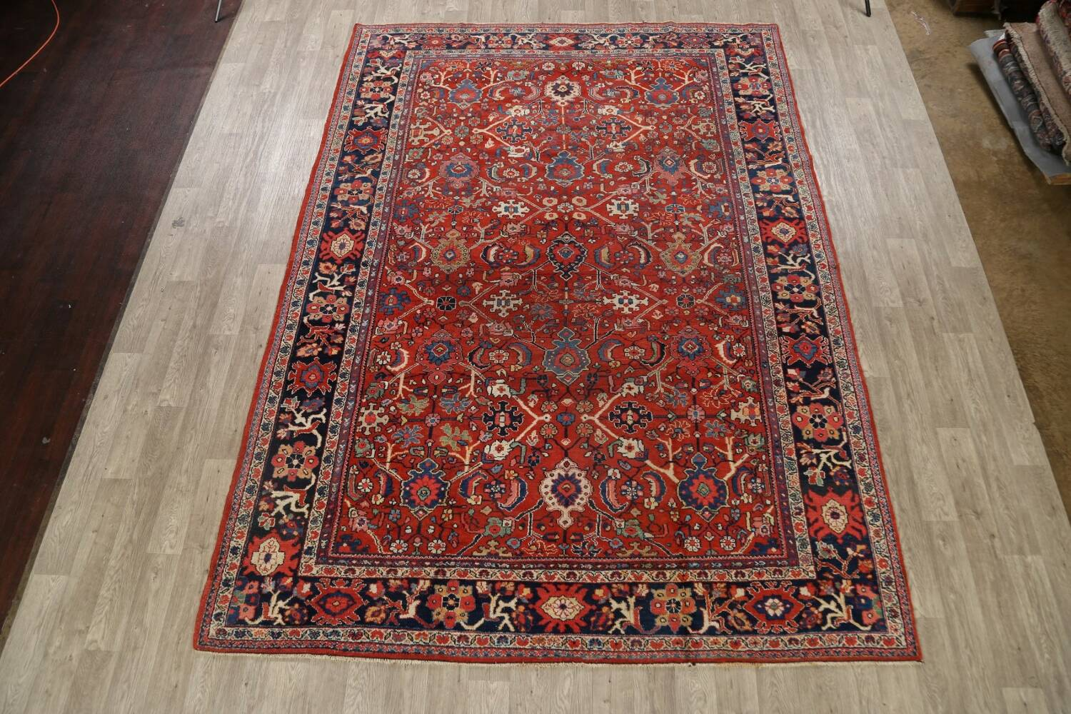 Antique Vegetable Dye Sultanabad Persian Area Rug 9x12 image 2